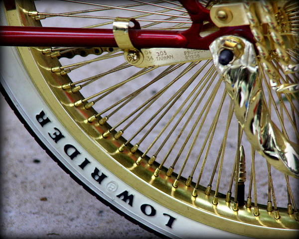 Lowrider Bike Paintings Photographs Art Print featuring the photograph Low Rider In Maroon And Gold by Tam Graff