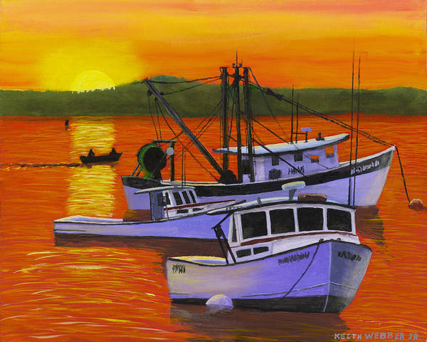 Maine Art Print featuring the painting Maine Fishing Boats At Sunset Port Clyde Painting by Keith Webber Jr