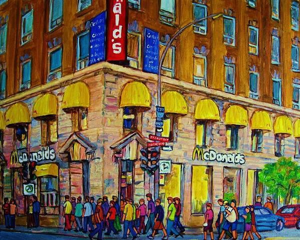 Mcdonald Restaurant Montreal Art Print featuring the painting Mcdonald by Carole Spandau