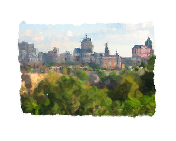 Riverwest Milwaukee Downtown Art Print featuring the digital art Milwaukee From Resevoir Park by Geoff Strehlow