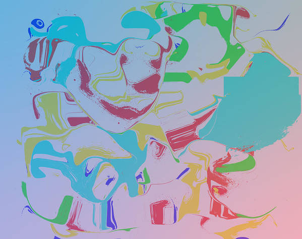 Abstract Art Print featuring the digital art Monkey Clown by Biff Yeager