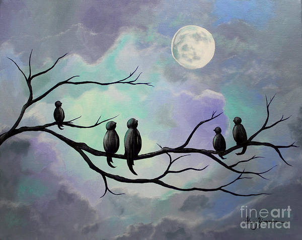 Birds Art Print featuring the painting Moonlight Sonata by Stacey Zimmerman