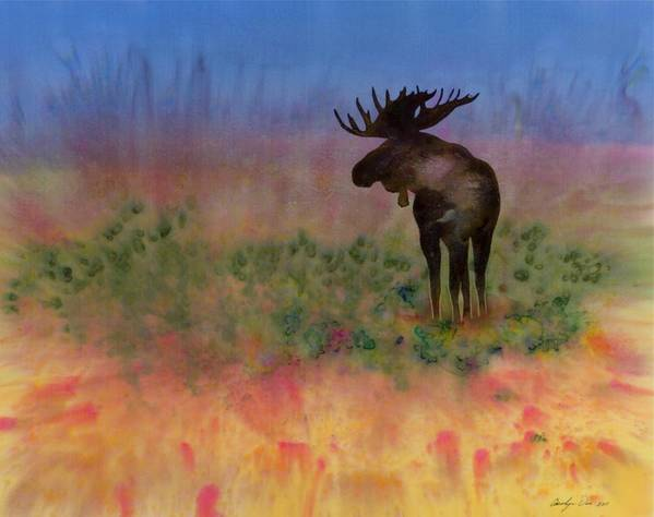 Moose Print featuring the tapestry - textile Moose On The Tundra by Carolyn Doe