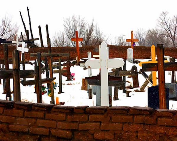 Cemetery Art Print featuring the photograph New Mexico Christmas Eve by Terry Fiala