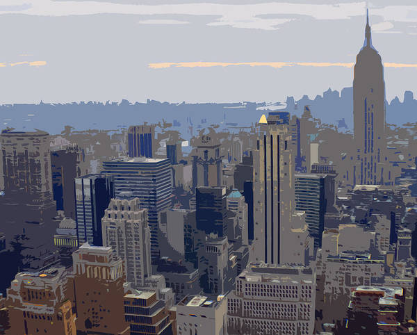 New York Skyline Art Print featuring the photograph New York Skyline From The Rockefelller by Clare Potter
