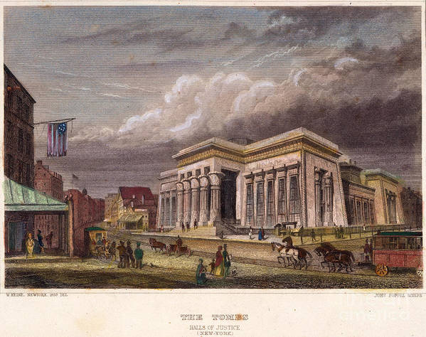 1850 Art Print featuring the photograph Nyc: The Tombs, 1850 by Granger