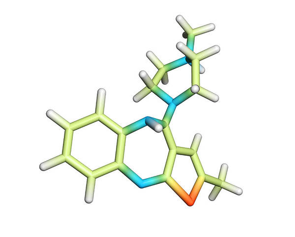 Zyprexa Zydis Art Print featuring the photograph Olanzapine Antipsychotic Drug Molecule by Dr Tim Evans