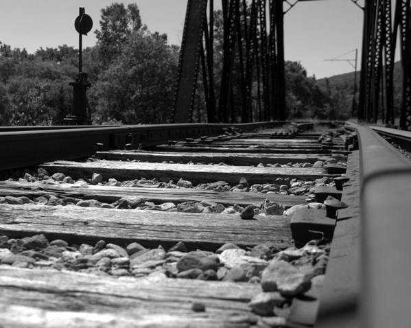 Railroad Art Print featuring the photograph On The Rails by Kathy Kenney