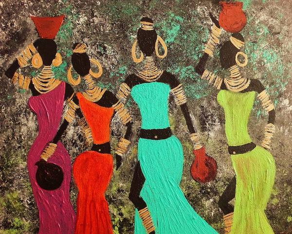 Tribe Art Print featuring the painting Out Of Africa by Anuradha Mukherji