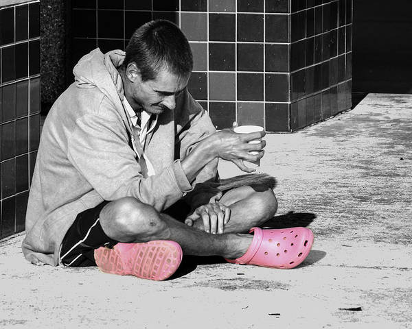 Man Wearing Pink Crocks Art Print featuring the photograph Pink Crocks by Don Durfee