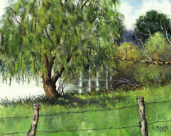 Pond Art Print featuring the painting Pond By Delomino Farm by John Pirnak