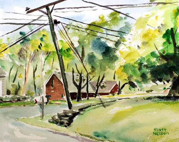 Powerlines Art Print featuring the painting Power Pole by Scott Nelson