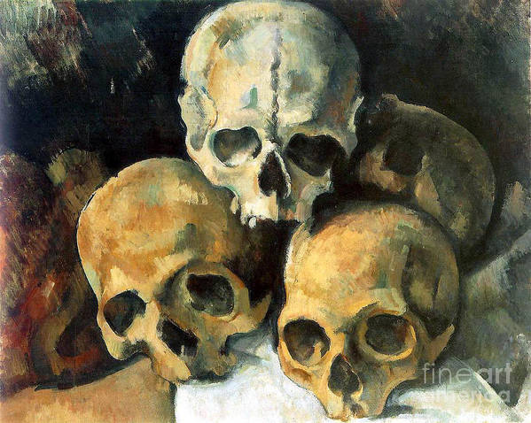 Cezanne Art Print featuring the painting Pyramid Of Skulls by Extrospection Art