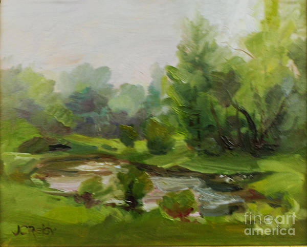 Landscape Art Print featuring the painting Riversedge Mist by Judith Reidy