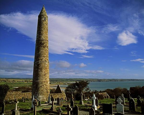 Abbeys Art Print featuring the photograph Round Tower, Ardmore, Co Waterford by The Irish Image Collection