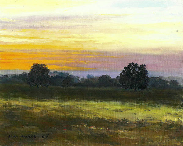 Sunset Art Print featuring the painting Silhouettes by John Pirnak