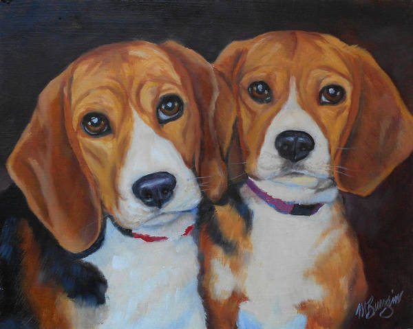 Beagle Art Print featuring the painting Sophie And Sadie by Mary Buergin