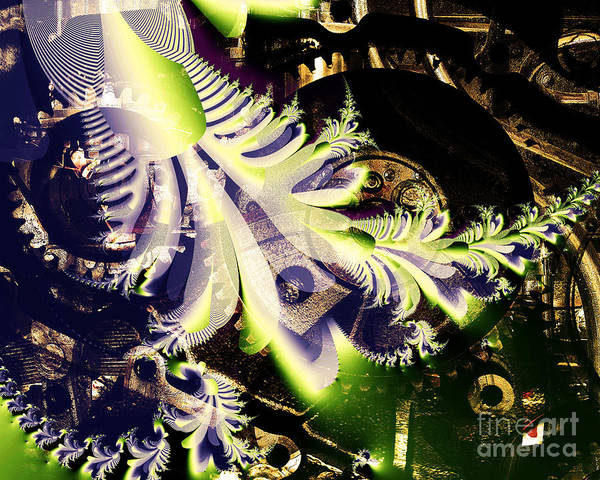 Fractal Art Print featuring the digital art Steampunk Abstract Fractal . S2 by Wingsdomain Art and Photography