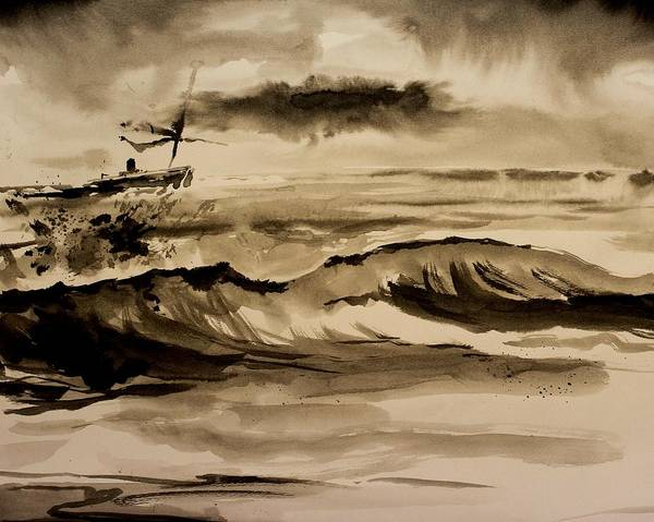 Ink Art Print featuring the painting Stormy Arrival by Scott Nelson