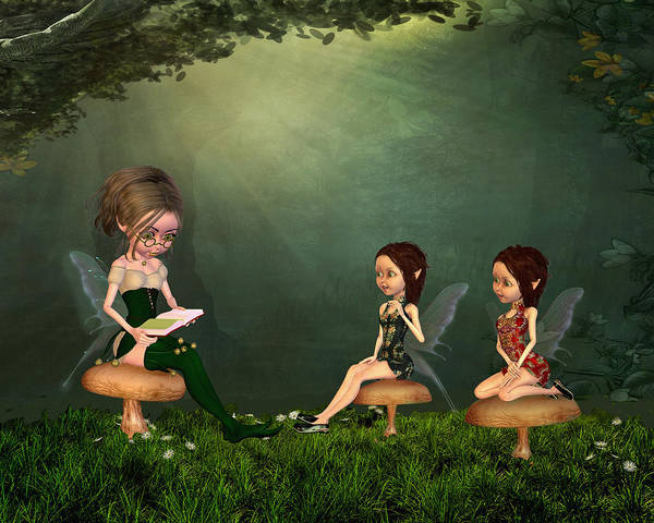 Fairies In The Forest Art Print featuring the digital art Story Timei N The Forest by John Junek