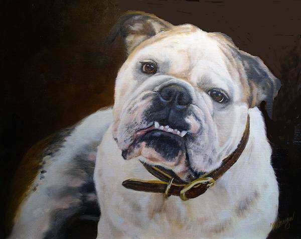 Bull Dog Art Print featuring the painting Tanner by Mary Buergin
