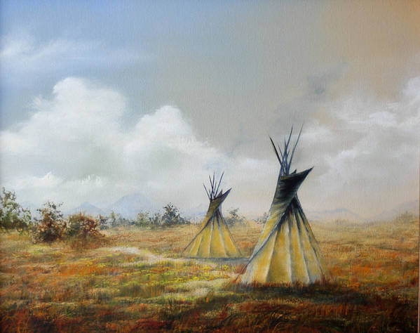 Oil Art Print featuring the painting Teepee by Meg Keeling