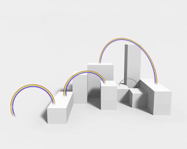 Horizontal Art Print featuring the digital art The Rainbow On White Background by Yagi Studio