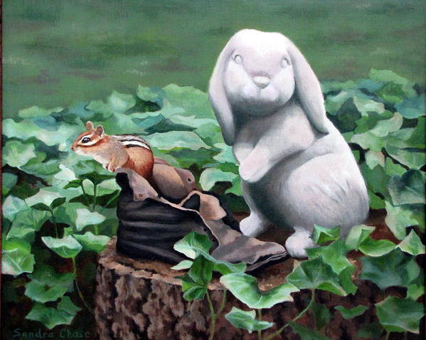 Chipmunk Art Print featuring the painting The Stone Rabbit by Sandra Chase