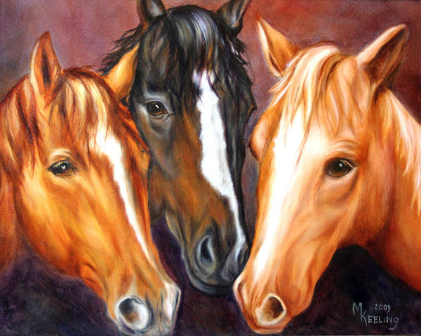 Oil Paintings Art Print featuring the painting Three Friends by Meg Keeling