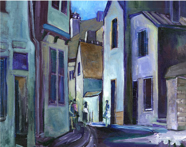 People Art Print featuring the painting Town In Italy by Carol Mangano
