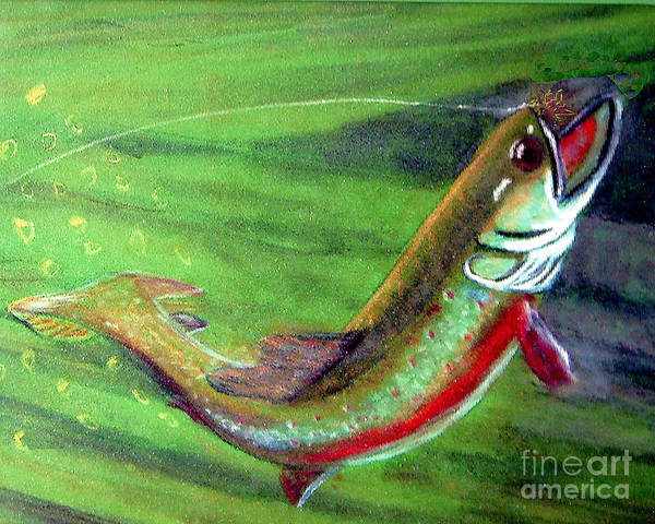 Trout Art Print featuring the photograph Trout On - Pastel Painting by Merton Allen