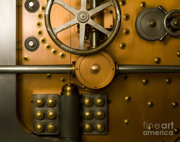 Architectural Art Print featuring the photograph Tumbler Bank Vault Door by Adam Crowley