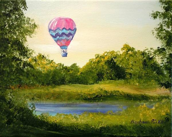 Balloon Art Print featuring the painting Up Up And Away by Barbara Pirkle