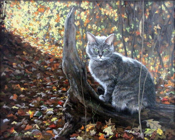 Kitten Print featuring the painting Waiting In The Woods by Sandra Chase