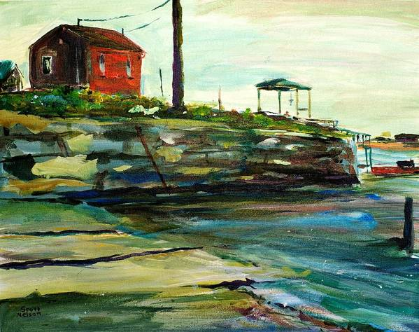Wells Harbor Art Print featuring the painting Wells Harbor Maine by Scott Nelson