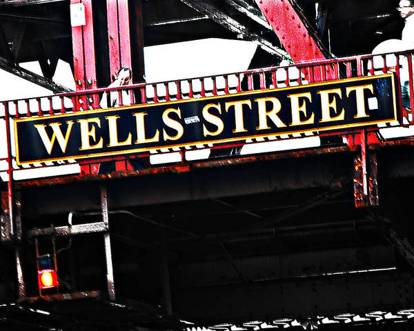 Chicago Art Print featuring the photograph Wells Street Sign by Simone Hester