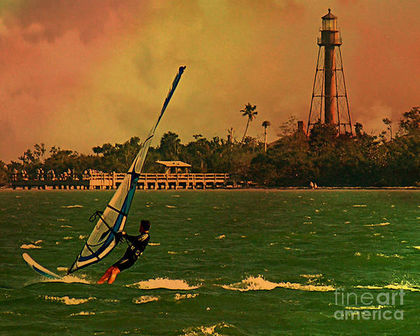 Windsurfer Art Print featuring the digital art Windsurfer In Paradise by Peggy Starks