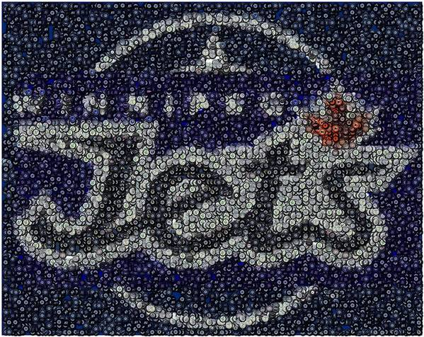 Winnipeg Jets Art Print featuring the digital art Winnipeg Jets Puck Mosaic by Paul Van Scott