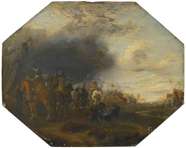 Jan Jacobsz. Van Der Stoffe Cavalry Skirmish; Soldiers Outside A Tented Camp.garden Art Print featuring the painting Soldiers Outside A Tented Camp by MotionAge Designs