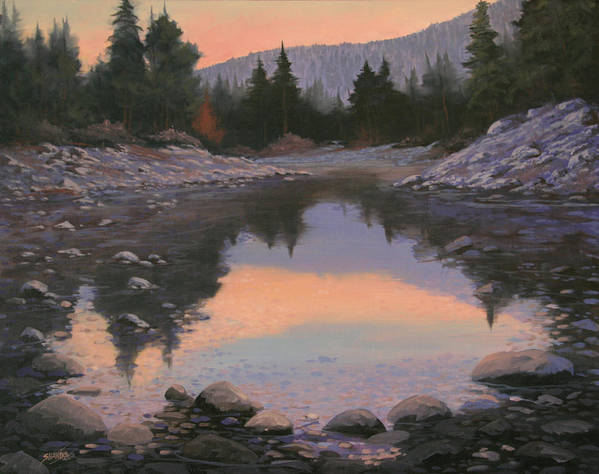 Landscape Art Print featuring the painting 080110-2016 Sundown Reflections by Kenneth Shanika