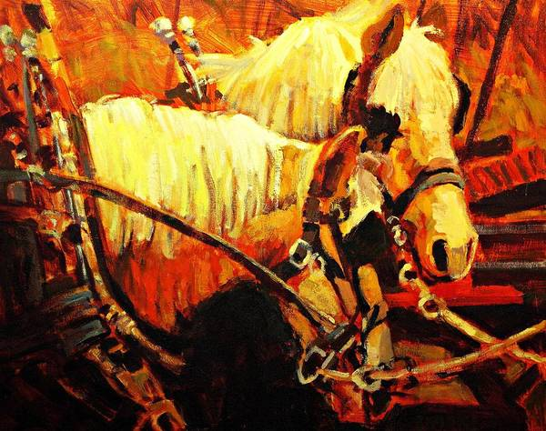 Horse Art Print featuring the painting A-team by Brian Simons