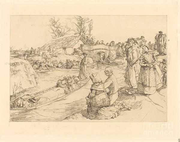 Art Print featuring the drawing Burial In The Vendeen Marsh (un Enterrement Dans Le Marais Vendeen) by Auguste Lep?re