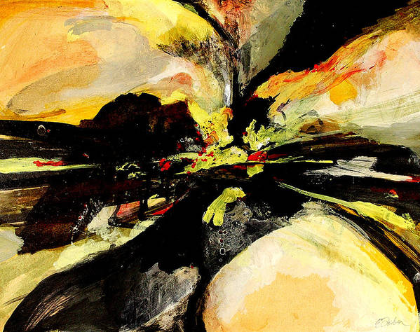 Abstract Abstractart  Red-orange-yellow-black  Art Print featuring the painting Cataclysm by Edward Farber