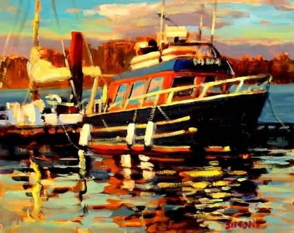 Boat Paintings Art Print featuring the painting Cruiser by Brian Simons