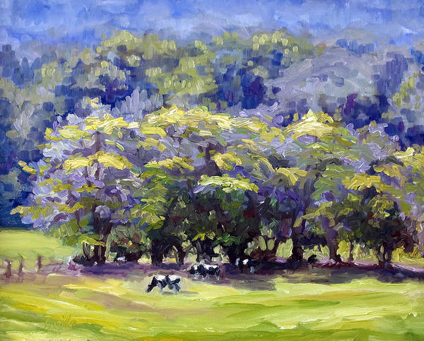 Landscape Art Print featuring the painting Dairy Cows by Kathy Busillo