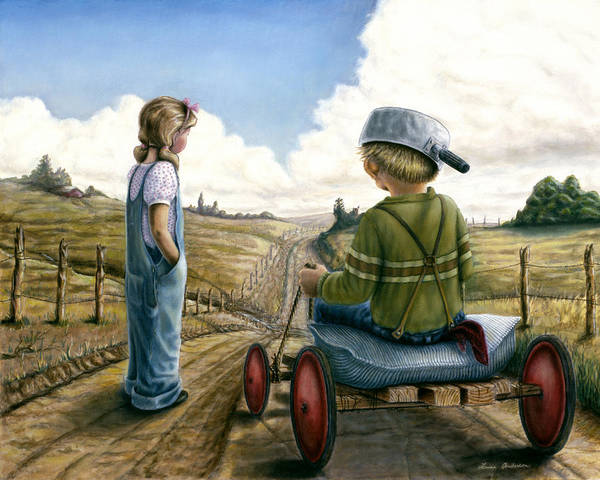 Children Playing Art Print featuring the painting Down Hill Racer by Lance Anderson