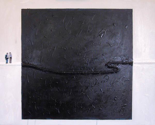Modern Art Art Print featuring the painting Explaining Modern Art Standing On An Elegant Line by Kevin Callahan
