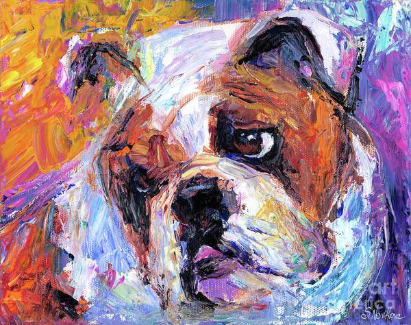 English Bulldog Painting Print featuring the painting Impressionistic Bulldog Painting by Svetlana Novikova