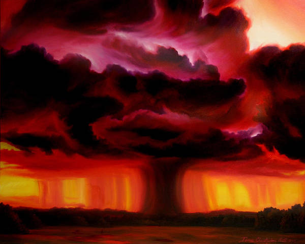 Skyscape Art Print featuring the painting Microburst by James Christopher Hill