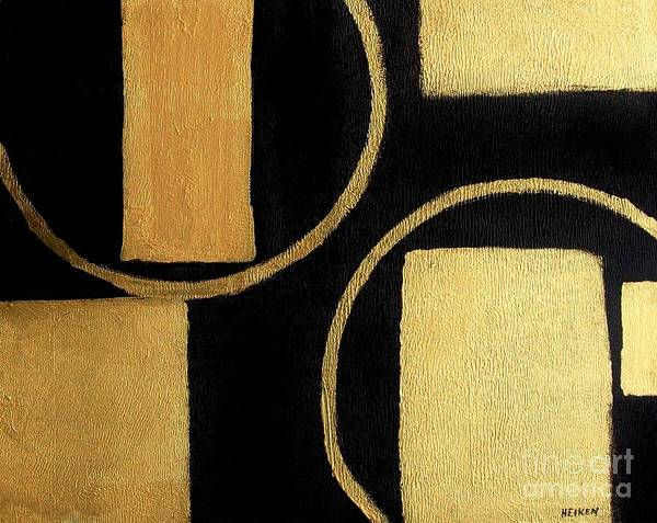 Painting Art Print featuring the painting Modern Shapes Gold by Marsha Heiken